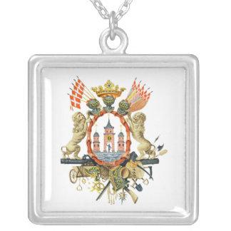 Copenhagen Coat of Arms Square Pendant Necklace