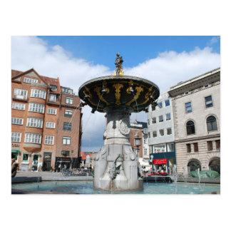 Copenhagen Denmark, Caritas Well Fountain Postcard