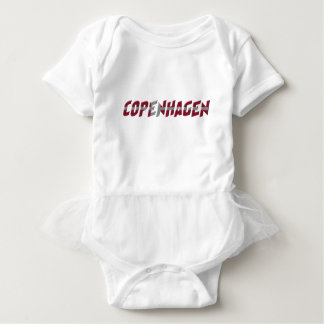 Copenhagen Denmark Danish Flag Colors Typography Baby Bodysuit