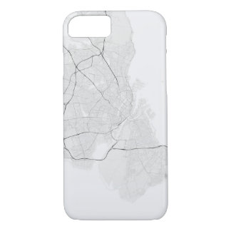 Copenhagen, Denmark Map. (Black on white) iPhone 8/7 Case