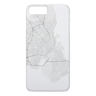 Copenhagen, Denmark Map. (Black on white) iPhone 8 Plus/7 Plus Case