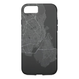 Copenhagen, Denmark Map. (White on black) iPhone 7 Case