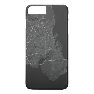 Copenhagen, Denmark Map. (White on black) iPhone 8 Plus/7 Plus Case