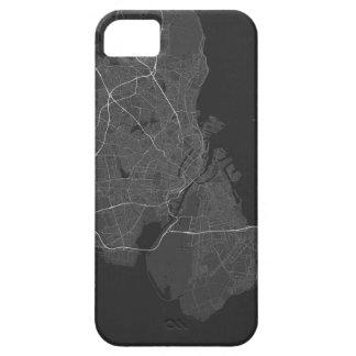 Copenhagen, Denmark Map. (White on black) iPhone SE/5/5s Case