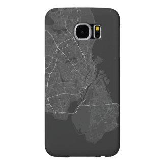 Copenhagen, Denmark Map. (White on black) Samsung Galaxy S6 Case