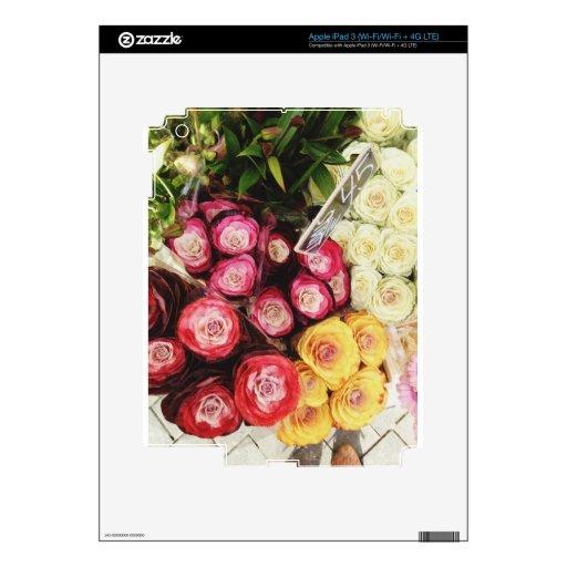 Copenhagen rainbow flowers skin for iPad 3