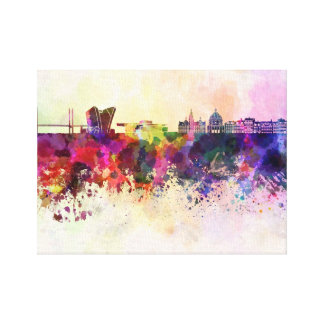 Copenhagen skyline in watercolor background canvas print