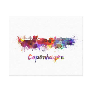 Copenhagen skyline in watercolor canvas print