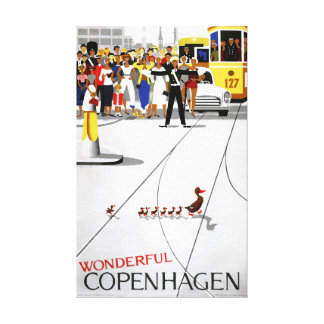 Copenhagen Vintage Travel Poster Restored Canvas Print