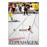 Copenhagen Vintage Travel Poster Restored Card