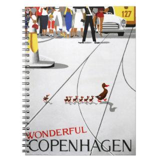 Copenhagen Vintage Travel Poster Restored Notebook