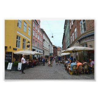 Copenhague, Dinamarca, cafés de la acera Cojinete