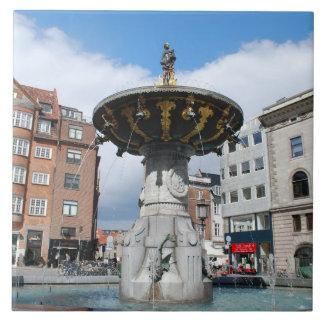 Copenhague Dinamarca, fuente bien de Caritas Azulejo