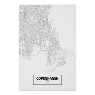 Copenhague, Dinamarca (negro en blanco) Posters