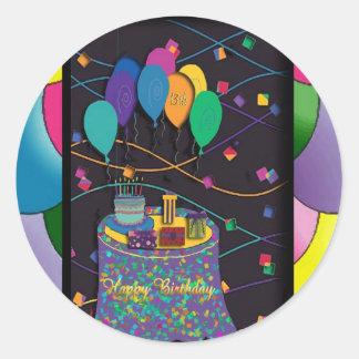 copia 13thsurprisepartyyinvitationballoons pegatina redonda