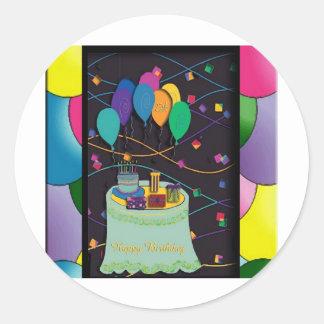 copia 25thsurprisepartyyinvitationballoons pegatinas redondas