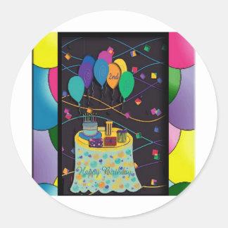 copia 2ndsurprisepartyyinvitationballoons etiqueta redonda