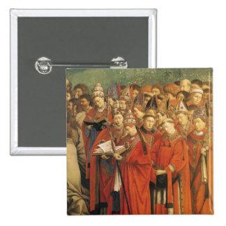 Copia de la adoración del cordero místico pin cuadrado