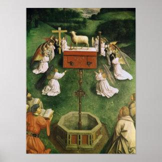 Copia de la adoración del cordero místico póster