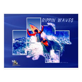Copia de la camisa de la onda de Rippin Postales