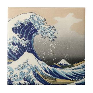 "Copia ""de la gran onda"" del c.1930 original de Hok Tejas Ceramicas"