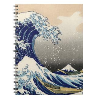 """Copia """"de la gran onda"""" del c.1930 original de Hok Libro De Apuntes Con Espiral"""