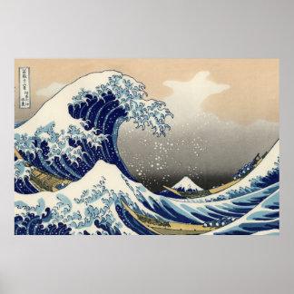 """Copia """"de la gran onda"""" del c.1930 original de Hok Póster"""