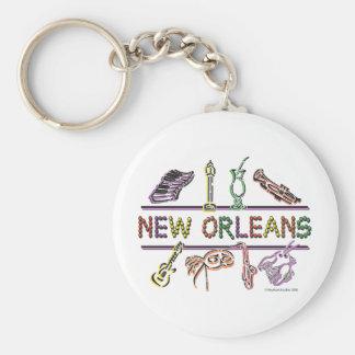 Copia de los Nuevo-Orleans-ICONOS Llavero Redondo Tipo Pin