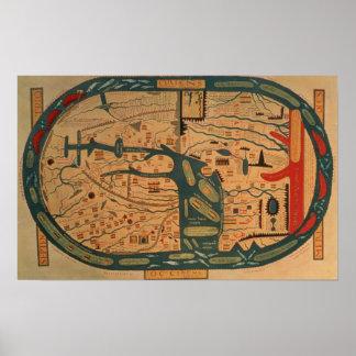 Copia de un mappamundi del siglo VIII de Beatus Póster