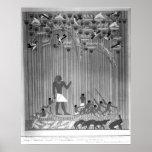 Copia del alivio pintado egipcio que representa la impresiones