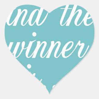 Copia del ganador pegatina en forma de corazón
