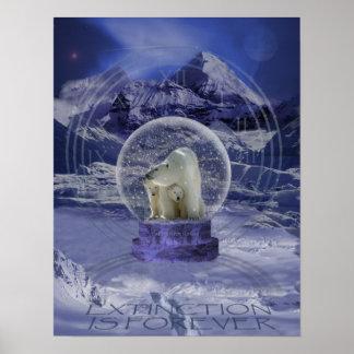 Copia del globo de la nieve del oso polar póster