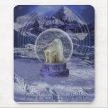 Copia del globo de la nieve del oso polar alfombrilla de ratón
