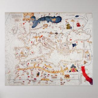 Copia del mapa catalán de Europa, África del Norte Impresiones