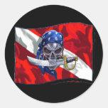 copia del piratediveflag etiqueta redonda