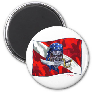 copia del piratediveflag imán redondo 5 cm