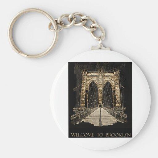 copia del puente de Brooklyn Llavero Redondo Tipo Pin