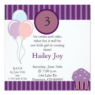 copia del purplestripecircle, globos, 3, sábado,… invitación 13,3 cm x 13,3cm
