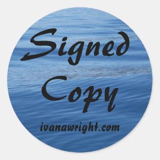Copia firmada con los pegatinas del URL Etiquetas Redondas