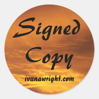 Copia firmada con los pegatinas del URL Pegatina Redonda