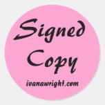 Copia firmada con los pegatinas del URL