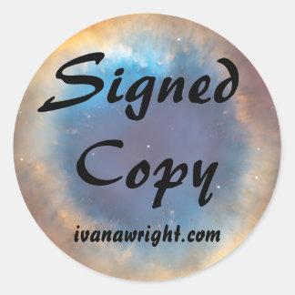 Copia firmada con los pegatinas del URL Etiqueta Redonda