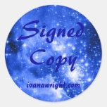 Copia firmada estrellas coloreada del azul pegatina redonda