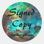 Copia firmada Fi de Sci con los pegatinas del URL Etiquetas Redondas