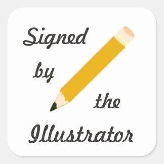 Copia firmada - ilustrador - pegatinas cuadrados pegatina cuadrada