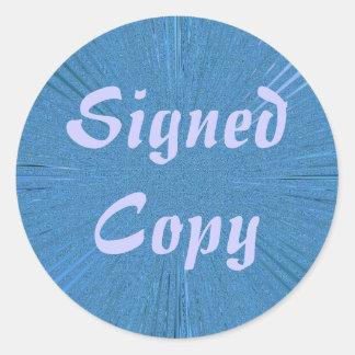 Copia firmada - pegatinas redondos (2) etiqueta redonda