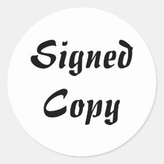 Copia firmada - pegatinas redondos (52) etiqueta redonda