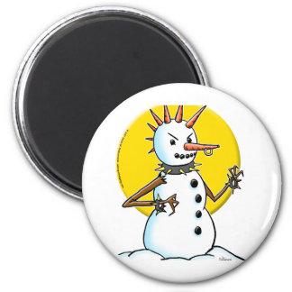 copia punky del muñeco de nieve imán redondo 5 cm