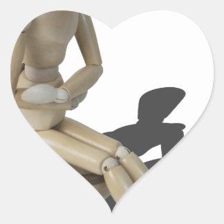 Copia SittingOnToiletWithPain082414 Pegatina En Forma De Corazón