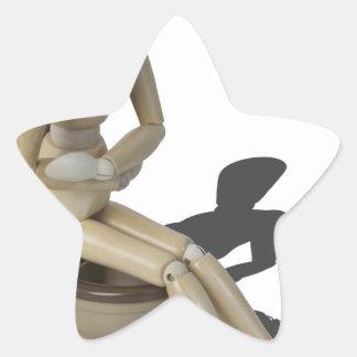 Copia SittingOnToiletWithPain082414 Pegatina En Forma De Estrella